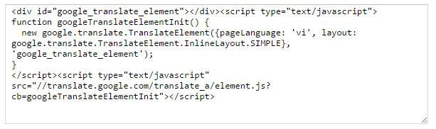 Nhận đoạn mã của google dịch