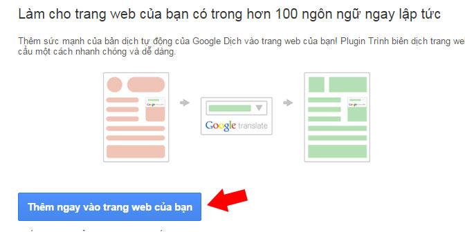 Thêm google dịch vào trang web