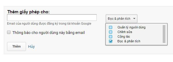 Thêm người dùng Google Analyics