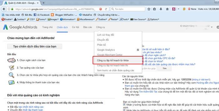 Bước 1 sử dụng google keyword planner