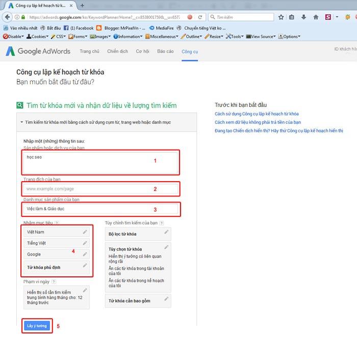 Bước 3 sử dụng google keyword planner