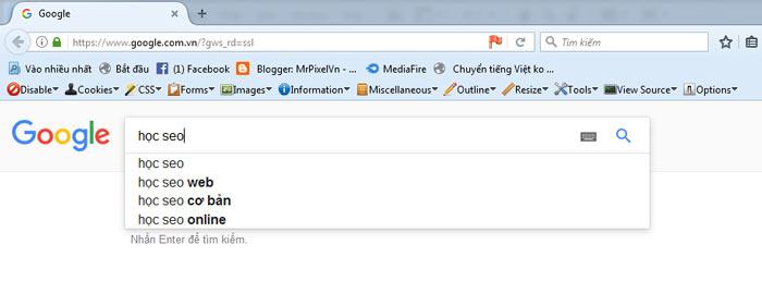 Công cụ tìm kiếm từ khóa Google Suggest
