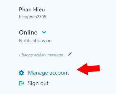 Manage Account skype