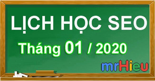Lịch học seo tháng 01/2020 tại Hà Nội
